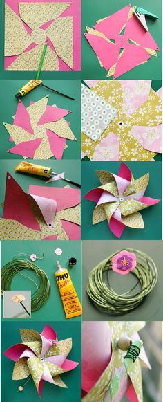 Pinwheel craft and decor ideas for summer decorating, and tutorial how to make a pinwheel that spins. Pinwheel Centerpiece, Pinwheel Decorations, Pinwheel Craft, Pinwheel Tutorial, Paper Decorations, Diy And Crafts, Crafts For Kids, Arts And Crafts, Wind Mill Craft