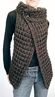 Ravelry: the Knit TC Vest pattern by Karen Clements KNITTING PATTERN: This vest is the Knit version of a vest I designed in Tunisian Crochet. A simple knitting pattern worked flat in one piece. I would rate this for at least the advanced beginner. Easy Knitting Patterns, Loom Knitting, Sewing Patterns, Knitting Ideas, Knitting Stitches, Knitting Sweaters, Shawl Patterns, Free Knitting, Simple Knitting Projects