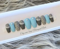 Matte Baby Blue Press On Nails Gray Flowers Etsy nail art etsy - Nail Art Gel Glue, Glue On Nails, Matte Black Nails, Chrome Nails, Stiletto Nails, Coffin Nails, Best Nail Polish Brands, Blue Press, Baby Blue Nails