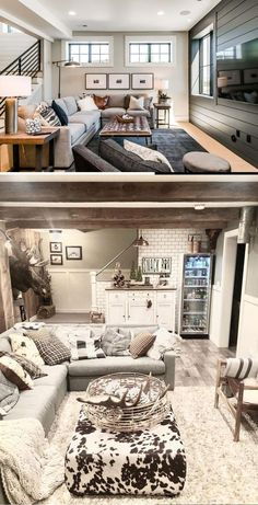 Best DIY Renovation Ideas for unfinished Basement Basement Decorating, Basement Makeover, Basement Renovations, Basement Ideas, Cheap Diy Home Decor, Diy Home Crafts, Rustic Stairs, Diy Ideas, Decor Ideas