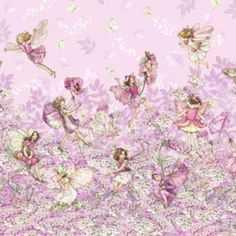 New - Pink Petal Flowers Fairies Border - Michael Miller - 1 yard - More Available by BywaterFabric on Etsy