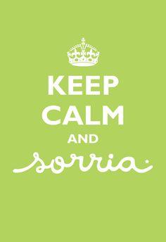 Poster Frase Keep Calm and Sorria Green - Decor10