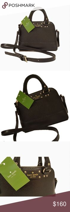 """Kate Spade Wellesley Mini Rachelle Crossbody NWT Brand new with tags Kate Spade Mini Rachelle crossbody bag  Zippered top closure with Kate Spade nameplate logo on the front  Dual handles and a drop of approx. 2.5"""" and adjustable shoulder/cross-body strap with a maximum drop of approx. 21.5"""" Interior has black Capital Kate lining and features 1 slip pocket  Approx. dimensions: 7.5"""" L x 5.75"""" H x 2.5"""" W  Color/Pattern: Black textured leather with gold toned hardware Condition: New with tags…"""