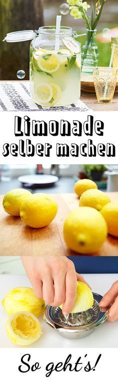 Limonade selber machen – so geht's – DRINKS – Make lemonade yourself – how it works … Summer Drinks, Cocktail Drinks, Fun Drinks, Healthy Drinks, Healthy Snacks, Healthy Recipes, Cocktails, Cocktail Recipes, Smoothie Drinks