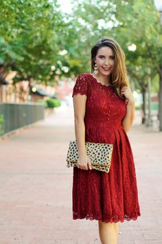 Burgundy lace dress for the holidays; leopard cluch; holiday dress; Christmas dress; dressy style; fancy holiday dress; rockstud pumps