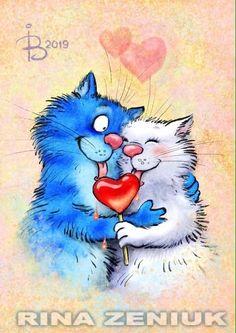 Animal Action, Happy Paintings, Cat Colors, Blue Cats, Happy Art, Cat Supplies, Cartoon Pics, Cat Drawing, Cat Love