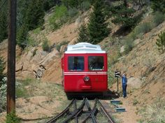 Pikes Peak Cog Railway, near Colorado Springs, Colorado.  The kids will love the ride up the mountain.  You will enjoy the view.  See other area attractions.