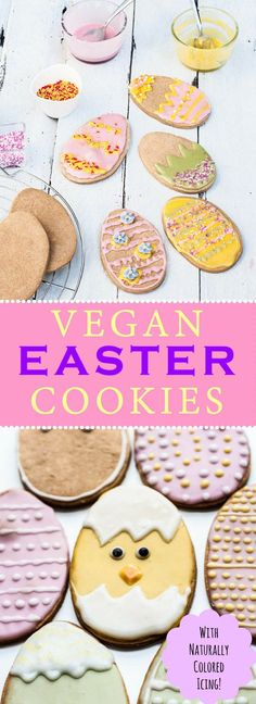 Vegan Easter Cookies Recipe with Naturally Colored Icing! These are such a fun Easter dessert to make with your kids and family! They'll love these Vegan Easter Egg Cookies! /// http://VeganFamilyRecipes.com /// #spring #cookie