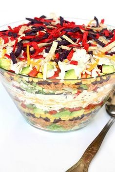 This show-stopping Layered Chicken Taco Salad is perfect for a party or family weeknight dinner. It always gets amazing reviews! Who doesn't love a great taco salad?! It's usually full of flavor and all the awesome taco fillings. It satisfies both the craving for a hearty salad and a crunchy taco. This Layered Chicken Taco...