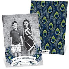 Colorful and oh-so-trendy peacock feathers make for unexpectedly showy holiday photo cards. #peacock #christmascards #holidayphotocards