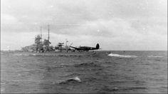 3rd Reich KMS Gneisenau Heinkel He 111 in low pass near the battleship - the North Sea 1939.