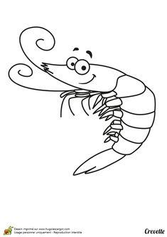 Une crevette cartoon prête à s'amuser avec toi pendant un coloriage