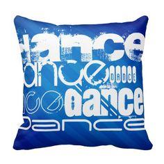 Dance; Royal Blue Stripes Throw Pillow