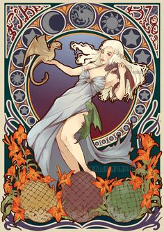 Daenerys Targaryen - Mother of Dragons - Game of Thrones Art Nouveau - Song of Ice and Fire