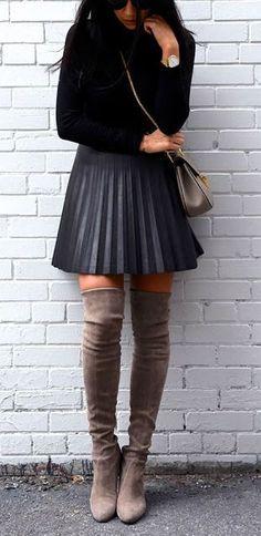 #winter #fashion / black knit + boots