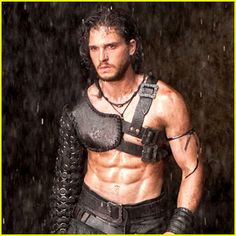 Kit Harington goes shirtless and shows off his ripped six pack abs in the teaser trailer for his new film Pompeii.