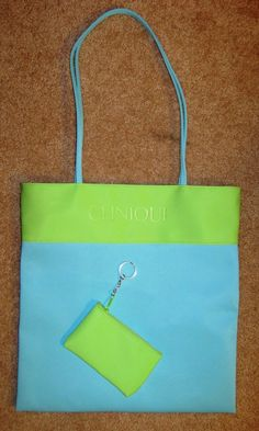 2a9a0871d81b My First Clinique tote Bag - New CLINIQUE Bright Blue Green Synthetic  Handbag Tote Bag Keychain Coin Purse -  15.00