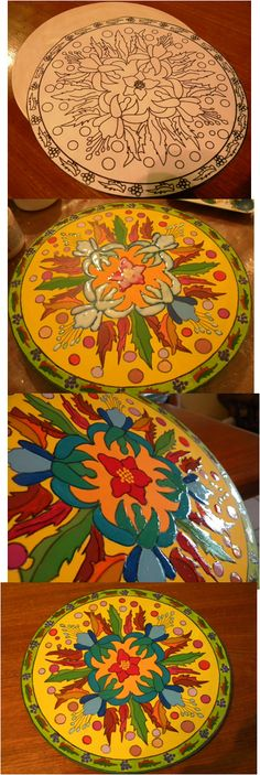 Tray with a hand- painted mandala.