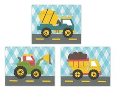 Perfect trio prints for boy nursery or children's room - construction theme, truck, tractor, blue, transportation, cars, set of 3