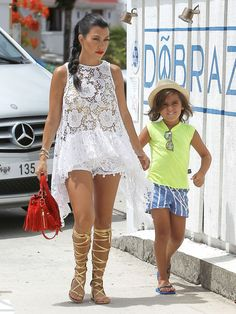 Kourtney Kardashian takes her son Mason to lunch at Do Brazil in St Barts on August 19, 2015