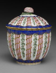 Sugar bowl from the Garrick Service, Sèvres porcelain factory, 1764, Sèvres, France, museum no. C.11-2011 | The Victoria and Albert Museum, London. Purchased with funds from the Capt. H.B. Murray Bequest and with the support of the V&A Director's Circle