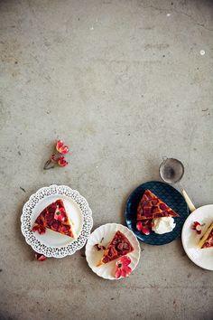 Rhubarb & Marzipan Upside-Down Cake