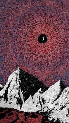 Aesthetic Photo, Aesthetic Wallpapers, Cute Wallpapers, Art Inspo, Mystic Mountain, Geometric Mandala, Moon Illustration, Sacred Geometry, Psychedelic Art