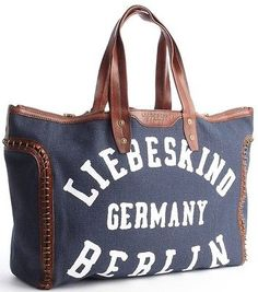 99b9506c8a58 Liebeskind Berlin Reversible Womens Wendy2 Tote Shopping Bag Dark Blue  Sorbet Canvas Handbags, Berlin,