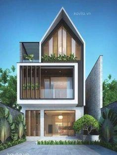 House facade contemporary modern exterior 26+ Ideas for 2019 Narrow House Designs, Small House Design, Dream Home Design, Modern House Design, New Modern House, Modern House Plans, Tropical House Design, Home Building Design, Bungalow House Design