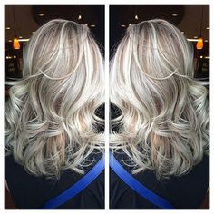 ♥ Platium/Silver blonde highlights with natural dimension. color/cut/style by stylist Emily Lieurance Love Hair, Great Hair, Gorgeous Hair, Platinum Blonde Hair, Blonde Curls, Hair Color And Cut, Hair Highlights, Blonde Hair With Silver Highlights, Platinum Highlights