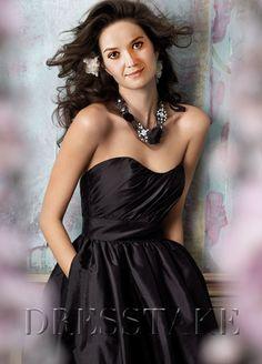 Simply A-line Sweetheart Floor-length Taffeta Black Bridesmaid Dresses, US$97.99