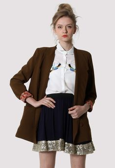 Brown Double Breasted Blazer with Floral Lining  #Chicwish