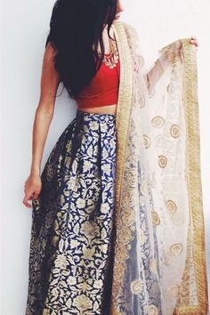 high waist skirt and a plain crop top pinteres Lehenga Designs, Indian Attire, Indian Wear, Bride Indian, Indian Style, Indian Dresses, Indian Outfits, Ethnic Outfits, Indian Crop Tops