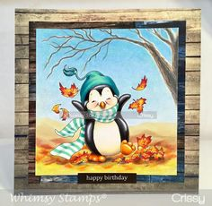 Penguin Fun In Fall by crissyarmstrong - Cards and Paper Crafts at Splitcoaststampers Fall Cards, Xmas Cards, Cartoon Drawings, Cute Drawings, Pop Up, Penguin Bird, Image Stamp, Butterfly Template, Whimsy Stamps