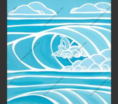 Shades of Hawaii #2 – Blue and white monochrome surf art by Hawaii artist Heather Brown