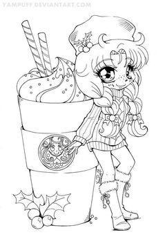 Coffe, menina para colorir