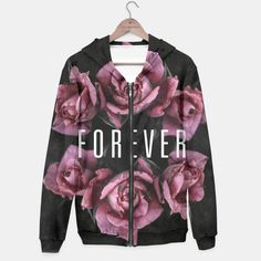 Forever Rose, hoodie, top, roses, vintage, pink, black, forever, rose, flowers, floral, fashion, fashionista, fashionable