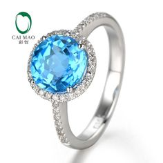2.75ct 14K White Gold Natural Flawless Blue Topaz & Diamond ring L1