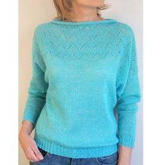 Лазурный пуловер свободного кроя с ажурным верхом готов, фото для заказчицы… Summer Tops, Crochet Clothes, Knitwear, Knitting Patterns, Knit Crochet, Aw 2018, Pullover, Couture, Stitch