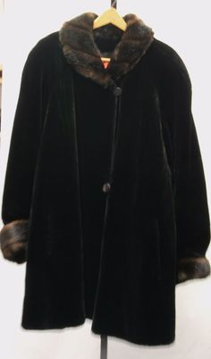 GALLERY Glamorous Black Faux Fur w/ Brown Trim Lined 3/4 Length Coat Sz 3x 80285 #Gallery #BasicCoat #Evening