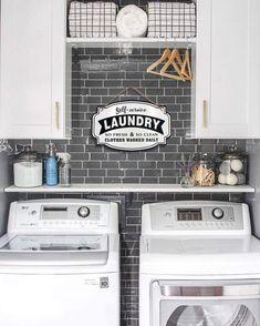 Laundry Room Wall Decor, Laundry Room Shelves, Tiny Laundry Rooms, Laundry Room Layouts, Laundry Room Remodel, Laundry Room Cabinets, Laundry Room Signs, Vintage Laundry Rooms, Laundry Room Decorations