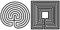 """From the World-wide Labyrinth Locator: """"Circular and square varieties of the classical labyrinth design. Mirror image forms will result in the first pathway turning either left or right. Both forms are common and may simply be a consequence of the handedness of the creator."""""""