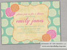This listing is for the SPRING MUMS baby shower or bridal shower invitation  The ever popular mums design is now available in spring colors!