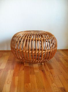 Vintage Franco Albini Wicker Ottoman / Pouf / Stool by luola
