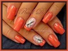 by RadiD - Nail Art Gallery Pretty Nail Designs, Nail Art Designs, Cute Nails, Pretty Nails, Dragonfly Nail Art, Nail Art Photos, Summer Toe Nails, Coral Nails, Glamour Nails