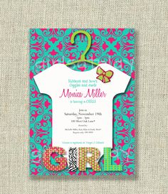 Baby Shower Girl Invitation Damask Bow Onesie Tuquoise Blue and Pink Printable - by girls at play