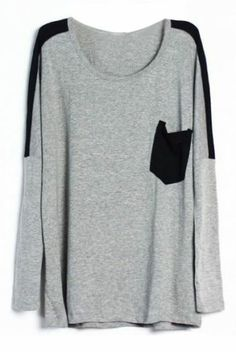 Grey Contrast Black Pocket Round Neck Long Sleeve T-Shirt pictures