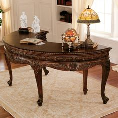 Elegant and luxurious, you'll love the rich beauty of the Design Toscano La Voute Grande Crescent Executive Desk . Hand-carved from solid mahogany,. French Furniture, Kitchen Furniture, Office Furniture, Office Decor, Office Ideas, Office Designs, Office Nook, Office Chic, Office Table