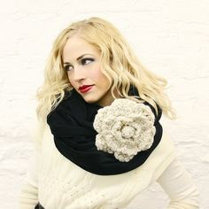 giant crochet flower looks great on fabric infinity scarf