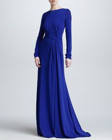 Long-Sleeve Gathered Jersey Gown, Blue by Elie Saab at Bergdorf Goodman. Abaya Designs, Bridesmaid Dresses, Prom Dresses, Formal Dresses, Long Dresses, Elie Saab Gowns, Fantasy Gowns, Long Sleeve Gown, Fall Skirts